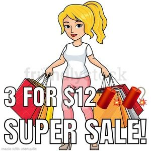 3 for $12 bundle offer. Anything marked with 🧨